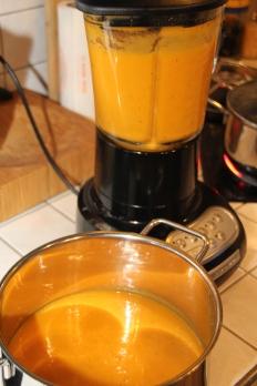Kürbis Karotten Suppe mit Wasabi Sahne (11)
